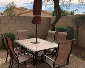 Patio Table w 4 Side Chairs, 2 Swivel Arm Chairs, Umbrella and Base