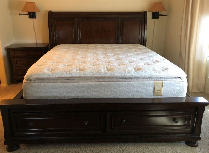 Ashley Bedroom Suite: King Sleigh Bed (bed frame has under-bed cedar lined drawers) , Nightstand, Dresser (dresser has cedar lined drawers)