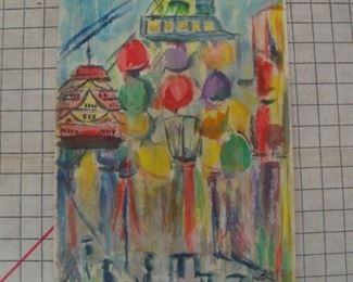 Abstract Cityscape Watercolor Painting