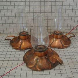 Trio of Copper Hurricane Candles