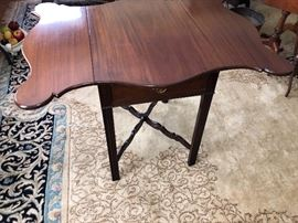 1790 Pembroke Cross Stretcher Drop Leaf Table Original Thomas Burling Cabinet & Chair Maker N0. 36 Beekman St New York with original label