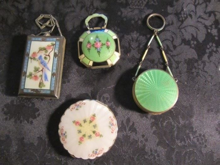FANTASTIC ANTIQUE GUILLOCHE COMPACTS-SOME STERLING!