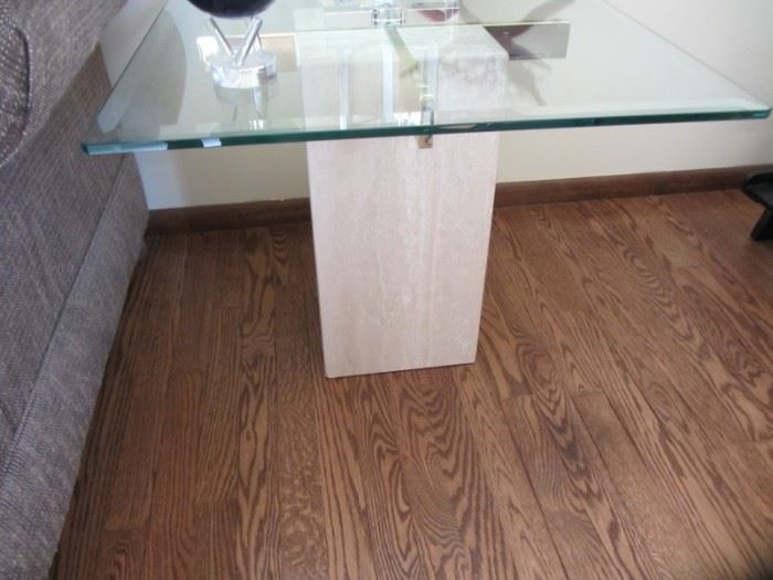 ARTEDI ITALIAN TRAVERTINE END TABLE  WITH BEVELED GLASS TOP