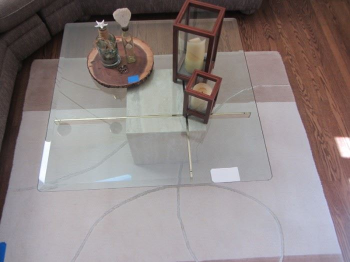 ARTEDI ITALIAN TRAVERTINE COFFEE TABLE  WITH BEVELED GLASS TOP