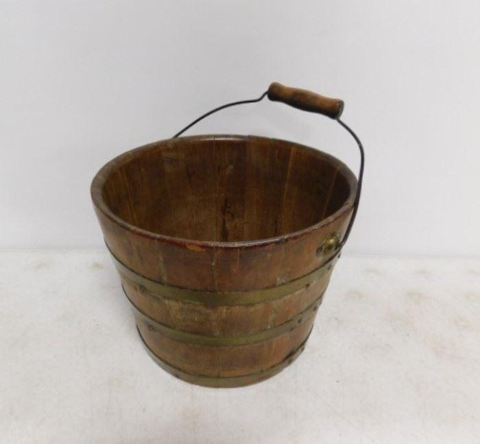Oak Slat Bucket with Handle
