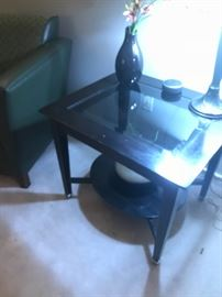 Wood with glass end table which also has additional matching pieces available!