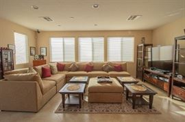 7 pieces sectional with movable pieces. 4 end tables and media center - can be sold separately.
