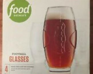 FOOD NETWORK FOOTBALL GLASSES 3 SETS