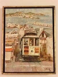 nice original vintage oil San Francisco  signed by artist  Love '71