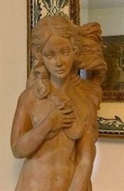 Large carved wood Goddess statuary