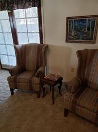matching striped wingack chairs