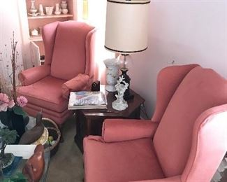 Pair of covered  Wing back chairs