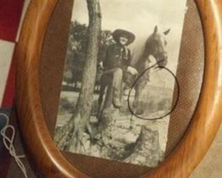 Bill Boyd famous singing cowboy pictured with his horse.  The circle is on the glass, showing location of signature, and easily wipes away.