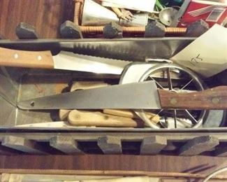 old kitchen utensils, knives, cutters etc