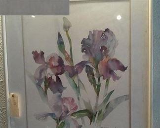 huge original watercolor of purple irises signed B. Stroud