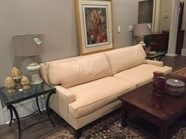 Pottery Barn Sofabed, Glass End Tables, Lamps, Decor