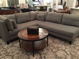 Great Crate & Barrel Upholstered Grey Sectional