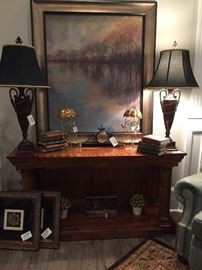 Extraordinary Entry Table, Cypress Creek Lamps, Mantel Clock, Carson Reproduction Painting