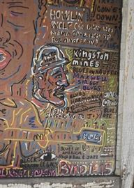 "Kingston Mines Chicago Blues Folk Art Window Artwork (Approx. 28"" W x 34.25"" L including window frame),  by Nicholas Barron"