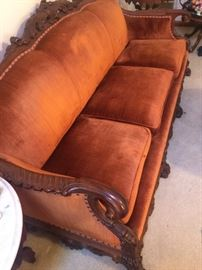 California Bleached Wood French Louis XV 3 seater couch