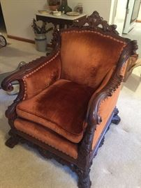 Antique French Victorian Mahogany arm chair