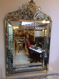 Antique French early 1900's mirror 33 x 50