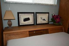 HEADBOARD, WALL ART, LAMP