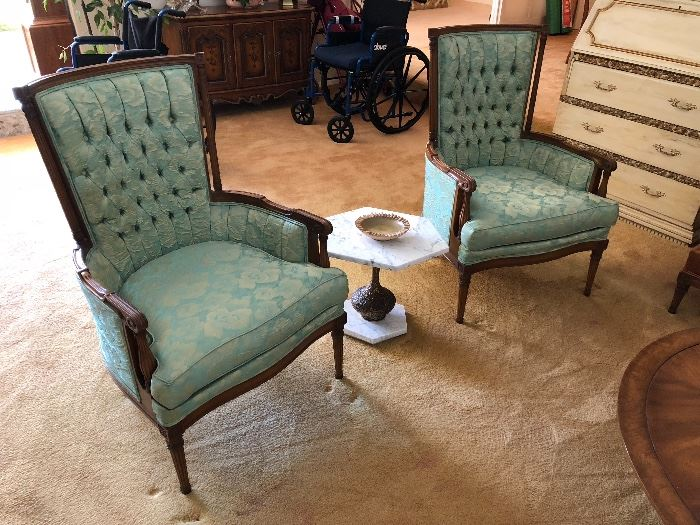 2 vintage  high back wing chairs original
