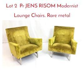 Lot 2 Pr JENS RISOM Modernist Lounge Chairs. Rare metal