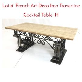Lot 6 French Art Deco Iron Travertine Cocktail Table. H