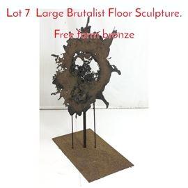 Lot 7 Large Brutalist Floor Sculpture. Free form bronze