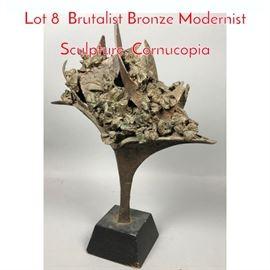 Lot 8 Brutalist Bronze Modernist Sculpture. Cornucopia