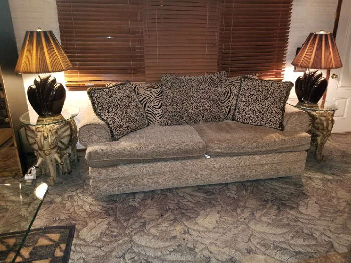 sofa set with elephant glass topped end tables