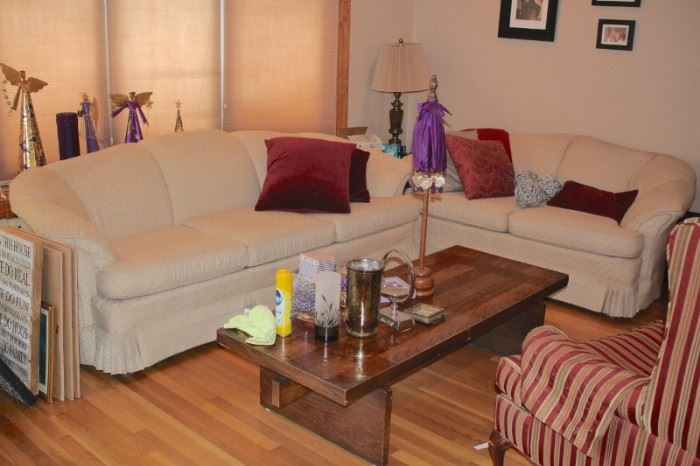 Sofa & Love Seat with Accent Pillows, Coffee Table and Upholstered Chair