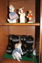 Lladros and other Figurines and Stemware