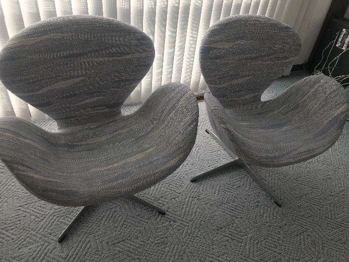 """Pair of Fritz Hansen Swivel Chairs designed by Arne Jacobsen.  Often referred to as """"Swan Chairs"""""""