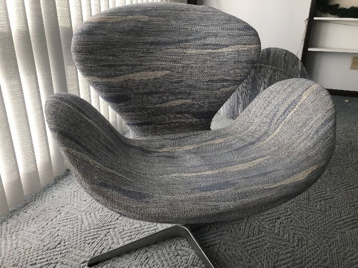 """Pair of FritzHansen Swivel Chairs designed by Arne Jacobsen.  Often referred to as """"Swan Chairs"""""""