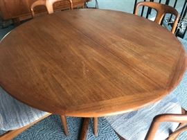 Danish dining room table with chairs