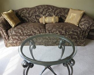 CLASSIC CAMEL BACK SOFA  ROLL ARMS WROUGHT IRON COFFEE TABLE WITH GLASS TOP