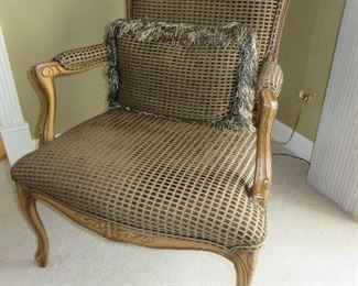 FRENCH STYLE OPEN ARM CHAIR CUSTOM UPHOLSTERED
