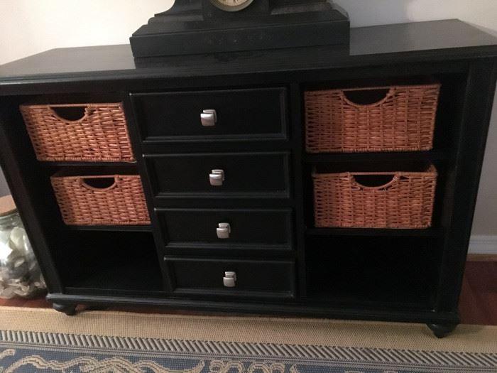Black 4-Drawer 6 Shelf Credenza with 4 baskets