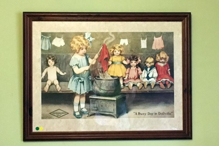 """Reproduction Print Bessie Pease Gutmann's """"A Busy Day in Dollville"""" Diamond Dyes"""
