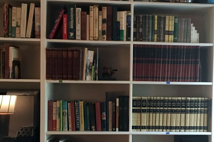 More Books, including  Various Editions of Nancy Drew Books, 6 volumes of Journeys through Bookland, 23 Volumes of Illustrated Home Library Encyclopedia, and Set of World Book Encyclopedias that are free to a good home