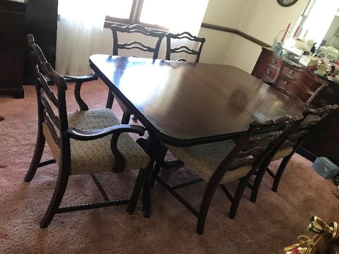 Dining Table / 6 Chairs - $ 448.00  Sollid wood antique set.