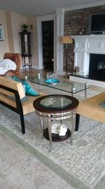 Modern interior, Coffee table with stainless steel legs,