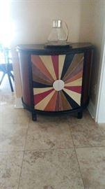Multi color demi lune wood cabinet