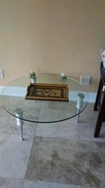 Designer coffee table glass and stainless steel legs