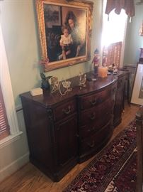 VINTAGE SATIN MAHOGANY SERVING BUFFET WITH 2 DOORS AND FIVE PULL OUT DRAWS.  ORIGINAL HARDWARE.  IN GREAT CONDITION WITH NO DAMAGE