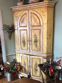 HAND PAINTED WOOD CORNER CABINET WITH 4 DOORS AND MULTIPLE SHELF'S