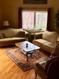 Pair of upholstered sofas, coffee & end tables